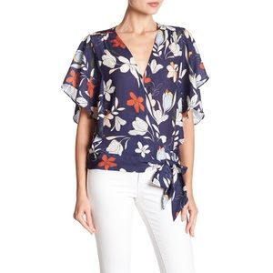 NWT Parker Floral Printed Wrap Short Sleeve Top